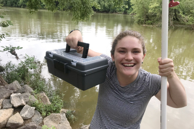 Rachael Moffatt, a senior environmental studies major, is the James River Association's water quality intern this summer, helping to oversee 66 volunteers who collect and upload samples each week