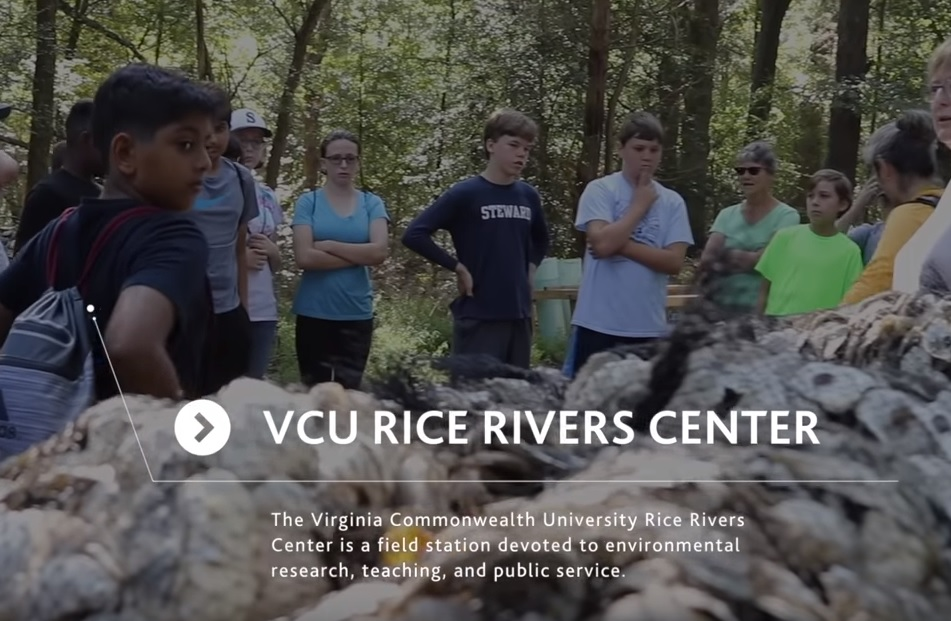 Students from the Steward School look at the bagged oyster shells at the Rice Rivers Center