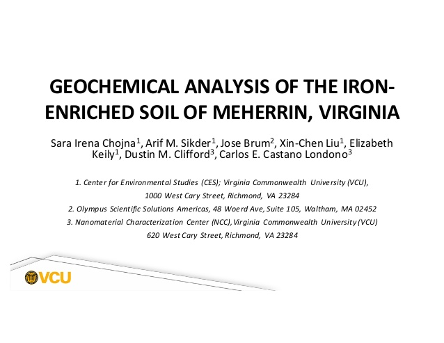 Slide from VCU presentation Geochemical Analysis of the iron-enriched soil of Meherrin, VIrginia